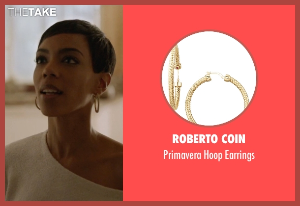 Roberto Coin gold earrings from Ballers seen with Julie Greane (Jazmyn Simon)
