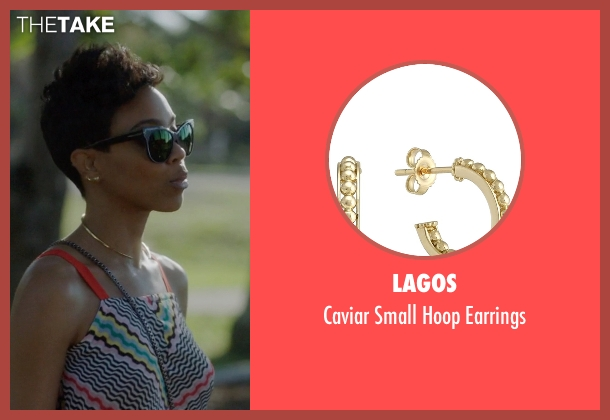 Lagos gold earrings from Ballers seen with Julie Greane (Jazmyn Simon)