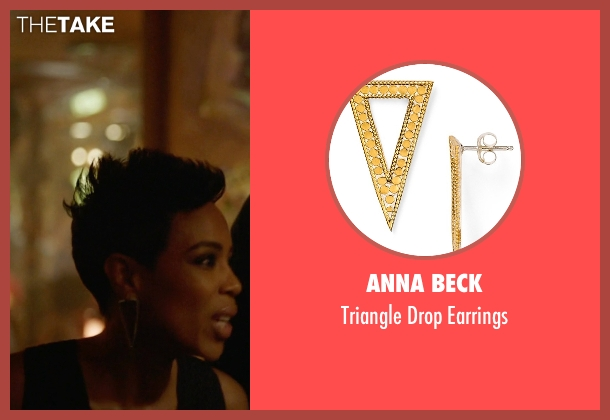 Anna Beck gold earrings from Ballers seen with Julie Greane (Jazmyn Simon)