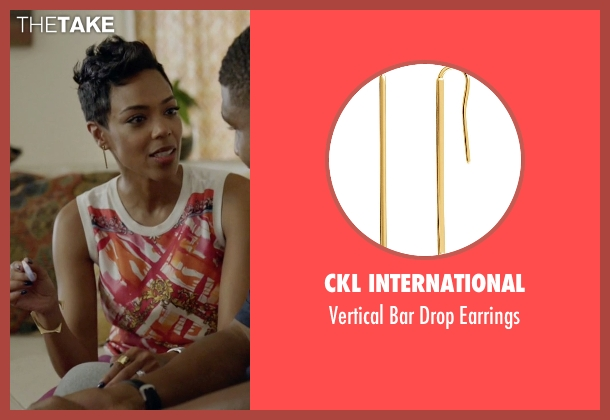 CKL International gold earrings from Ballers seen with Julie Greane (Jazmyn Simon)