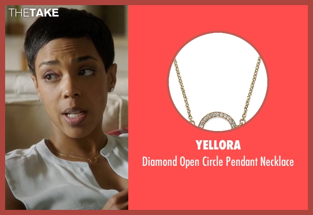 YellOra gold necklace from Ballers seen with Julie Greane (Jazmyn Simon)