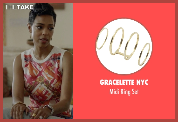 Gracelette NYC gold set from Ballers seen with Julie Greane (Jazmyn Simon)