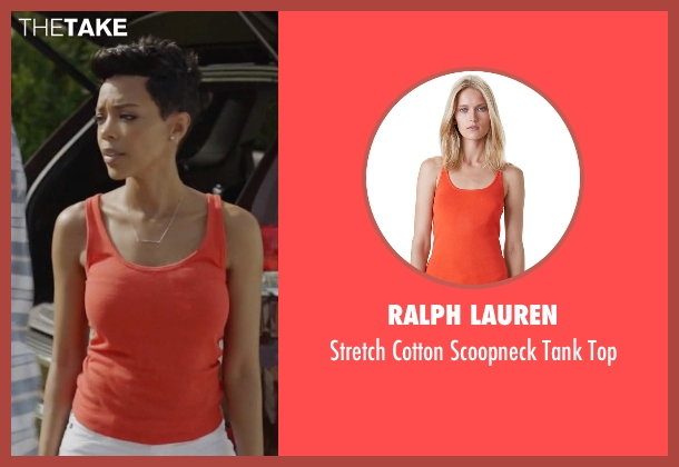 Ralph Lauren orange top from Ballers seen with Julie Greane (Jazmyn Simon)