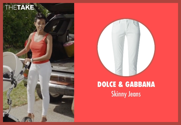 Dolce & Gabbana white jeans from Ballers seen with Julie Greane (Jazmyn Simon)