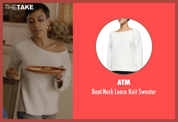 ATM white sweater from Ballers seen with Julie Greane (Jazmyn Simon)