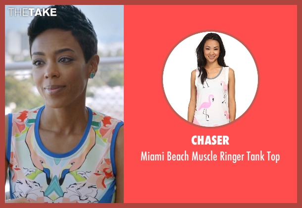 Chaser white top from Ballers seen with Julie Greane (Jazmyn Simon)