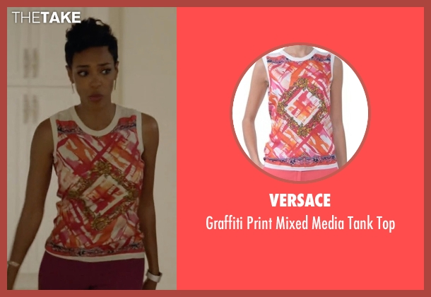Versace white top from Ballers seen with Julie Greane (Jazmyn Simon)