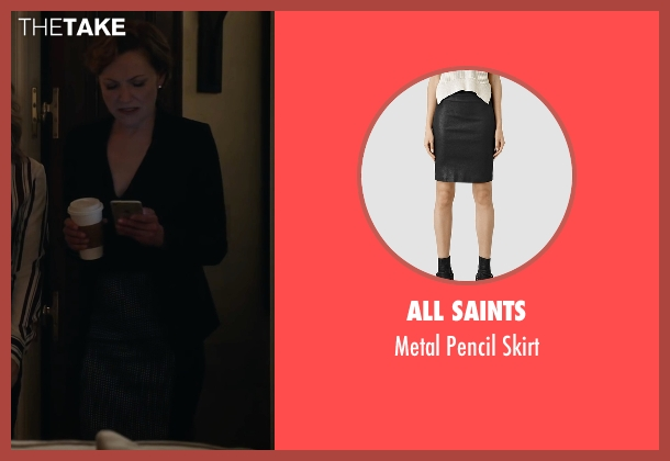 All Saints black skirt from A Very Murray Christmas seen with Julie White