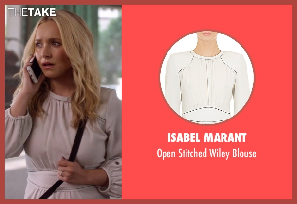 Isabel Marant white blouse from Nashville seen with Juliette Barnes (Hayden Panettiere)