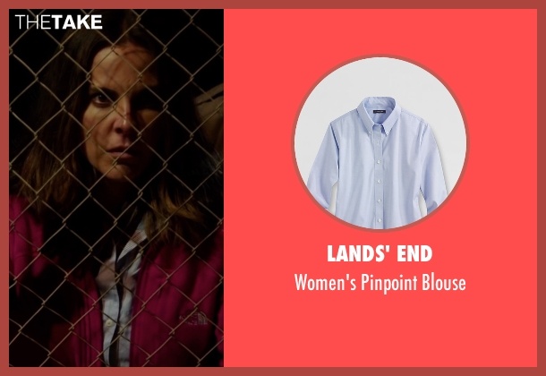Lands' End blue blouse from The 33 seen with Juliette Binoche (María Segovia)