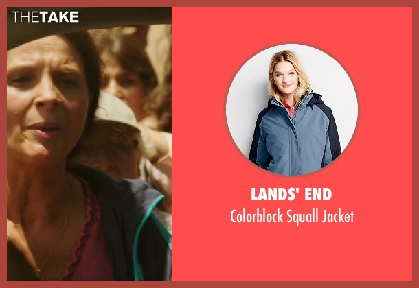 Lands' End blue jacket from The 33 seen with Juliette Binoche (María Segovia)