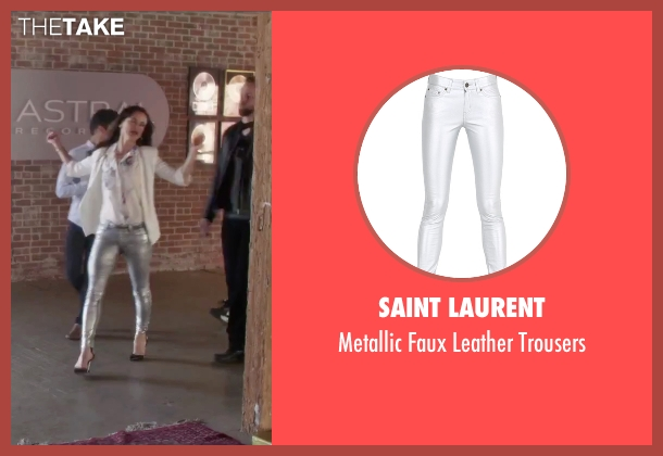 Saint Laurent silver trousers from Jem and the Holograms seen with Juliette Lewis (Erica Raymond)