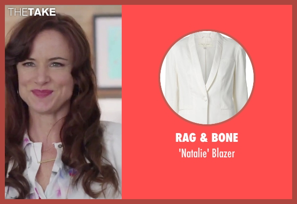 Rag & Bone white blazer from Jem and the Holograms seen with Juliette Lewis (Erica Raymond)