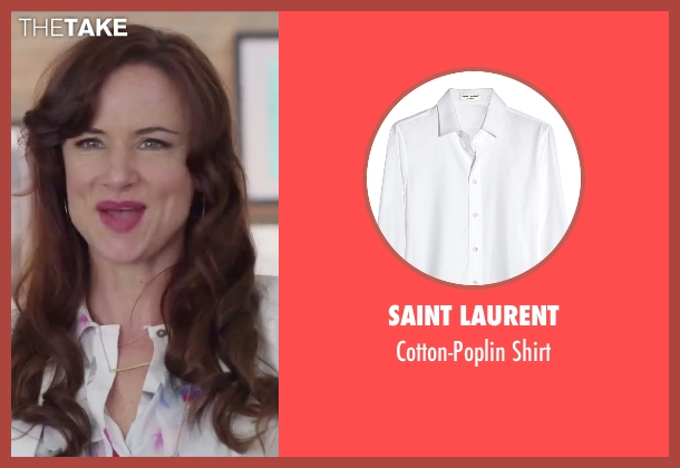 Saint Laurent white shirt from Jem and the Holograms seen with Juliette Lewis (Erica Raymond)