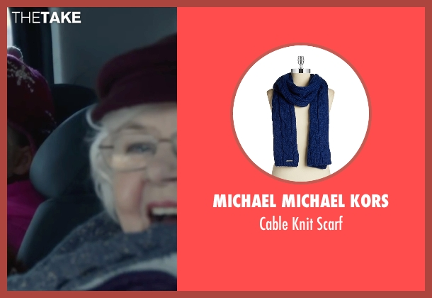 Michael Michael Kors blue scarf from Love the Coopers seen with June Squibb (Aunt Fishy)