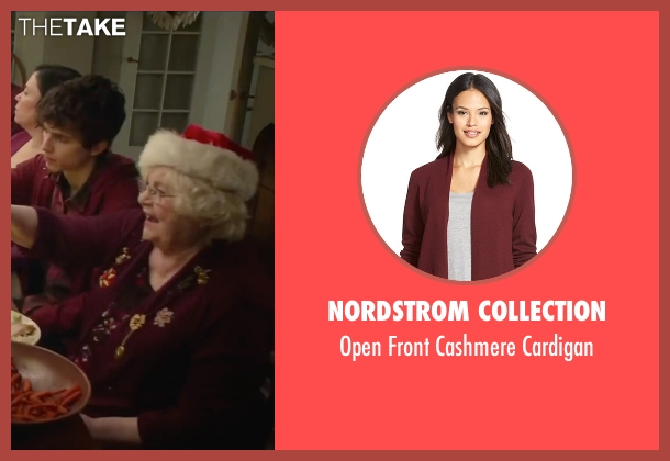 Nordstrom Collection red cardigan from Love the Coopers seen with June Squibb (Aunt Fishy)