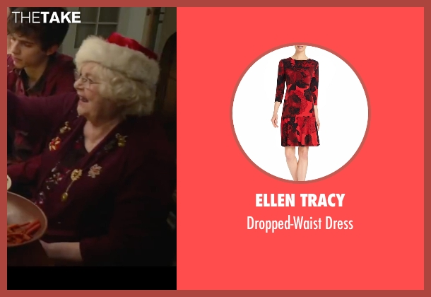 Ellen Tracy red dress from Love the Coopers seen with June Squibb (Aunt Fishy)