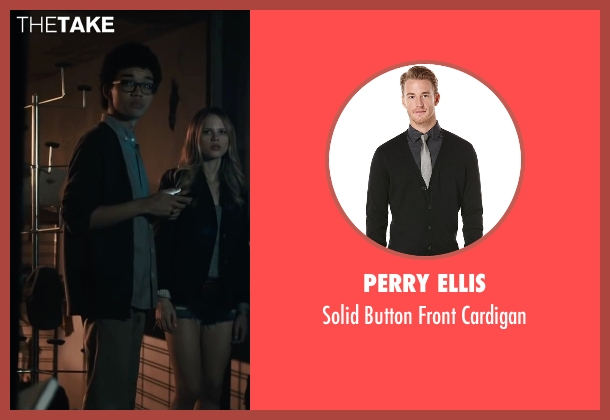 Perry Ellis black cardigan from Paper Towns seen with Justice Smith (Radar)