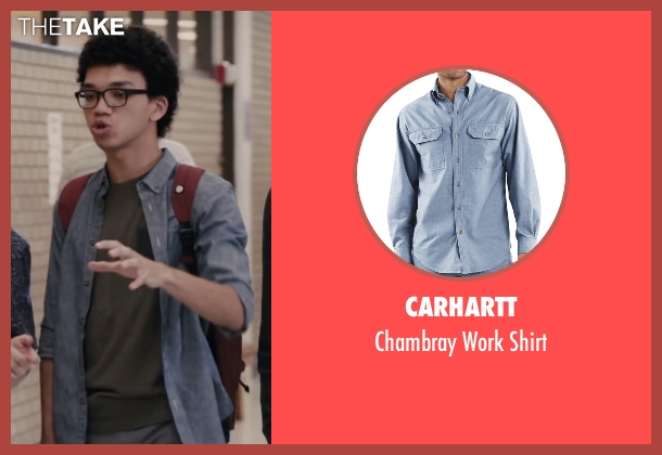Carhartt blue shirt from Paper Towns seen with Justice Smith (Radar)