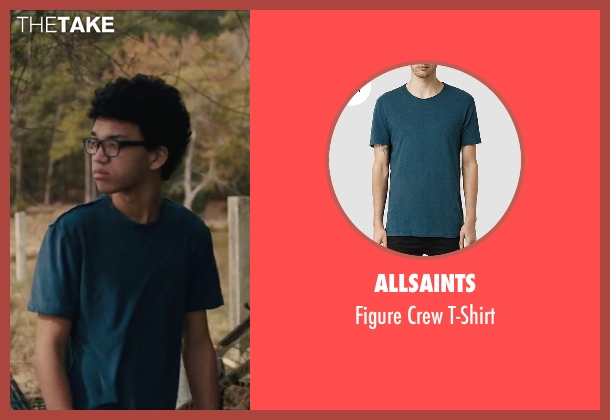 AllSaints blue t-shirt from Paper Towns seen with Justice Smith (Radar)