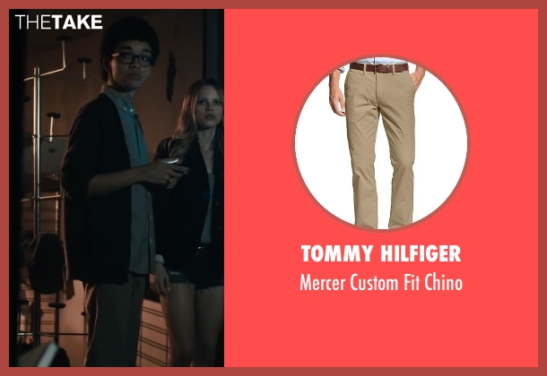 Tommy Hilfiger brown chino from Paper Towns seen with Justice Smith (Radar)