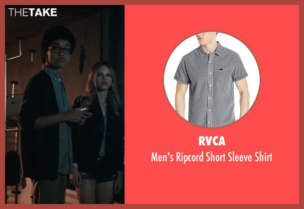 RVCA gray shirt from Paper Towns seen with Justice Smith (Radar)