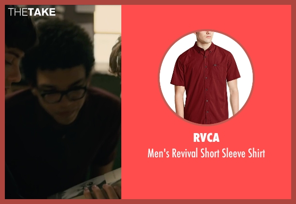 RVCA red shirt from Paper Towns seen with Justice Smith (Radar)