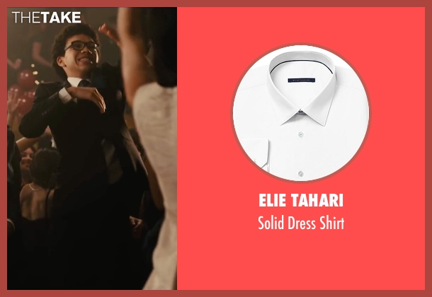 Elie Tahari white shirt from Paper Towns seen with Justice Smith (Radar)