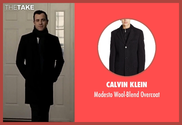Calvin Klein black overcoat from The Girl on the Train seen with Justin Theroux (Tom Watson)