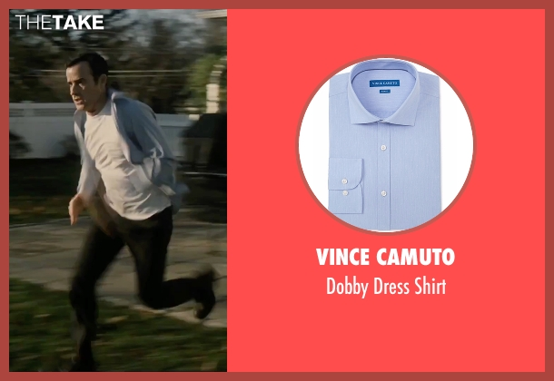 Vince Camuto blue shirt from The Girl on the Train seen with Justin Theroux (Tom Watson)