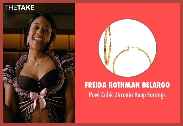 Freida Rothman Belargo gold earrings from Couple's Retreat seen with Kali Hawk (Trudy)