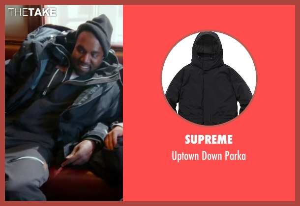 Supreme black parka from Keeping Up With The Kardashians seen with Kanye West
