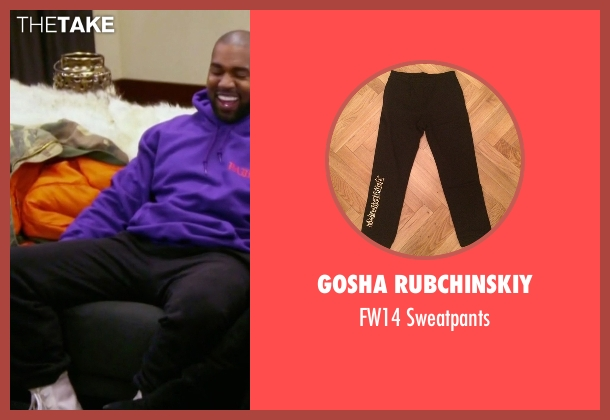 Gosha Rubchinskiy black sweatpants from Keeping Up With The Kardashians seen with Kanye West