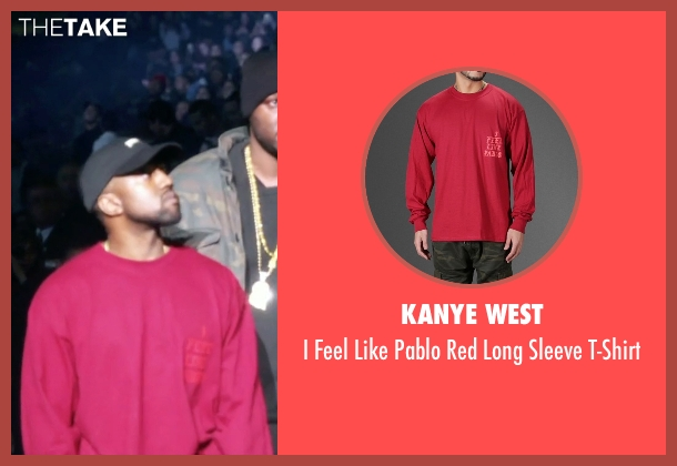 Kanye West red t-shirt from Keeping Up With The Kardashians seen with Kanye West