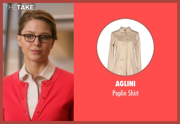 Aglini beige shirt from Supergirl seen with Kara Danvers/Supergirl (Melissa Benoist)