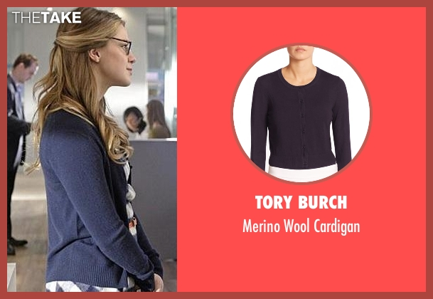 Tory Burch blue cardigan from Supergirl seen with Kara Danvers/Supergirl (Melissa Benoist)