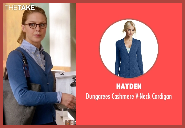 Hayden blue cardigan from Supergirl seen with Kara Danvers/Supergirl (Melissa Benoist)