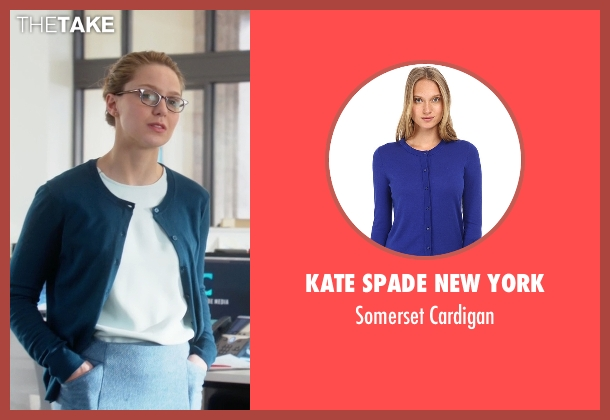 Kate Spade New York blue cardigan from Supergirl seen with Kara Danvers/Supergirl (Melissa Benoist)