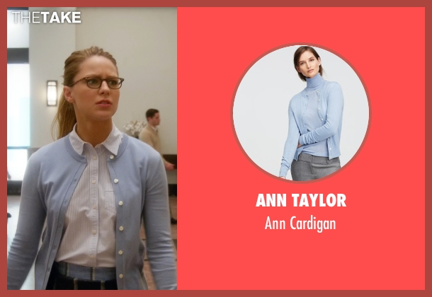 Ann Taylor blue cardigan from Supergirl seen with Kara Danvers/Supergirl (Melissa Benoist)