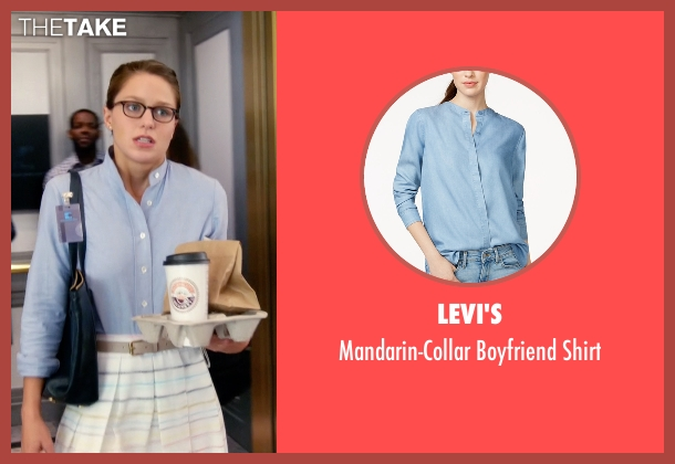 Levi's blue shirt from Supergirl seen with Kara Danvers/Supergirl (Melissa Benoist)