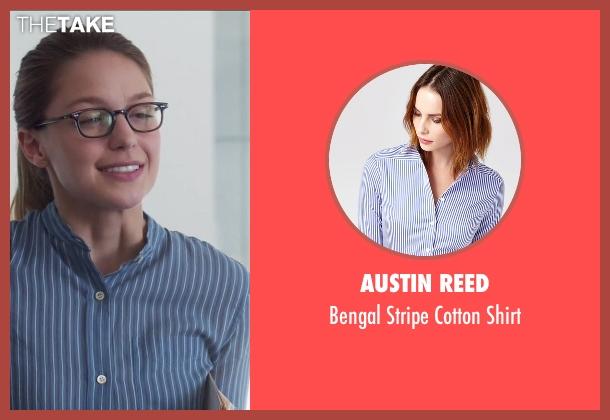 Austin Reed blue shirt from Supergirl seen with Kara Danvers/Supergirl (Melissa Benoist)