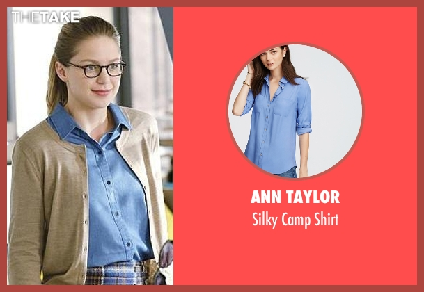 Ann Taylor blue shirt from Supergirl seen with Kara Danvers/Supergirl (Melissa Benoist)
