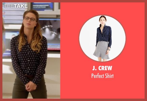 J. Crew blue shirt from Supergirl seen with Kara Danvers/Supergirl (Melissa Benoist)