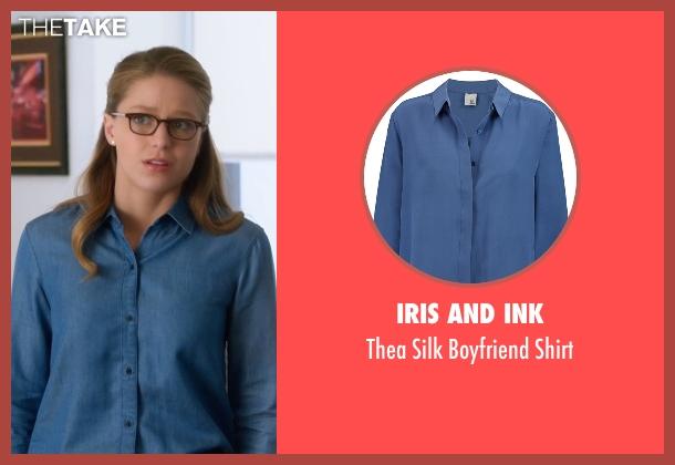 Iris And Ink  blue shirt from Supergirl seen with Kara Danvers/Supergirl (Melissa Benoist)