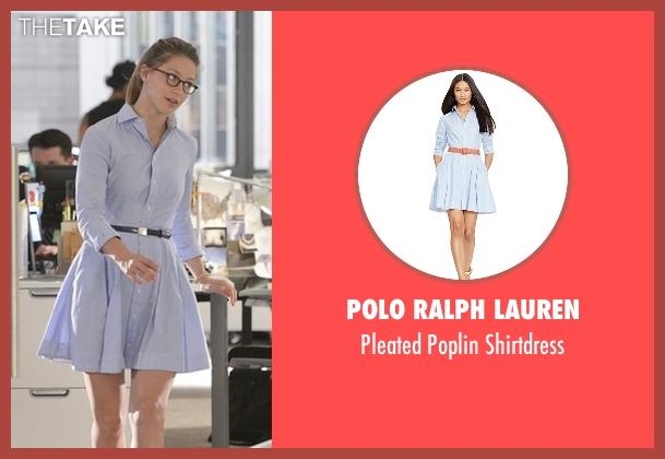 Polo Ralph Lauren blue shirtdress from Supergirl seen with Kara Danvers/Supergirl (Melissa Benoist)