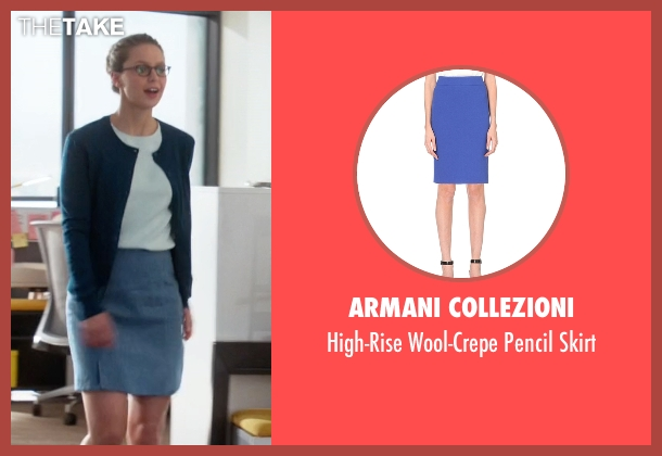 Armani Collezioni blue skirt from Supergirl seen with Kara Danvers/Supergirl (Melissa Benoist)