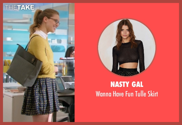 Nasty Gal blue skirt from Supergirl seen with Kara Danvers/Supergirl (Melissa Benoist)