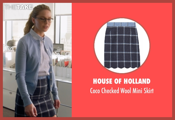 House Of Holland blue skirt from Supergirl seen with Kara Danvers/Supergirl (Melissa Benoist)