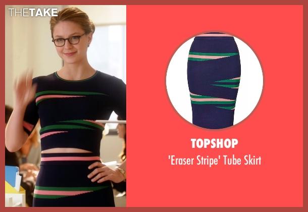Topshop blue skirt from Supergirl seen with Kara Danvers/Supergirl (Melissa Benoist)