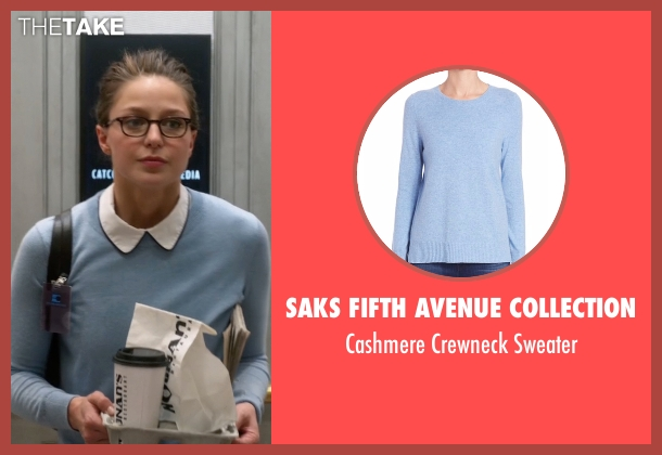 Saks Fifth Avenue Collection blue sweater from Supergirl seen with Kara Danvers/Supergirl (Melissa Benoist)